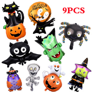 9x Halloween Foil Balloons Party Decor Ghost Bat Cat Spider Pumpkin Skull Witch