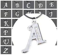 Men's Women's Initial Letter Alphabet Pendant Charm Necklace-Cord-Chain Choker