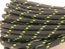 "Double Braid Polyester 3/4""x100 ft arborist rigging tree bull rope charcoal/lime"