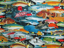 TROPICAL OCEAN FISH SHARK STACKED VARIETY SPECIES COTTON FABRIC BTHY