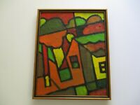 20 INCH GERALD ROWLES PAINTING EXPRESSIONIST ABSTRACT MODERNIST  CUBIST CUBISM