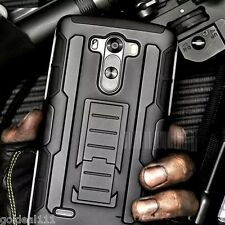Shockproof Hybrid Tank Armor Holster Case Cover w/ Kick Stand Black for LG G3/G2