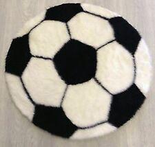 Fluffy Black & White Football Shape Faux Fur Kids Washable Rug / Mat 70cm Diam