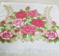 Bath Towel Cannon Floral MoD Terry Cloth Roses mid century red pink
