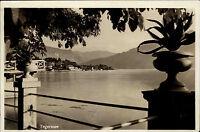 Tegernsee alte Ansichtskarte 1949 Blick von der Terrasse auf den See Teilansicht