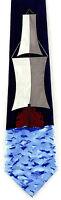 Tall Ship Men's Necktie Sailing Nautical Sailor Ocean Fashion Blue Neck Tie