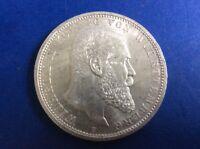 Silber Münze / Fünf Mark / Wilhelm II König von Württemberg 1913 F