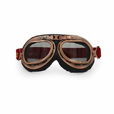 Copper Motorcycle Goggles Glasses Eyewear WWII RAF VINTAGE PILOT Smoke Lens US