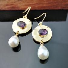 Fashion Amethyst Pearl Earrings 18K Yellow Gold Filled Ear Hook Dangle Jewelry