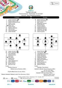 Finland v Russia UEFA Team sheet Euro 2020 Press Pack