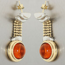 Ohrhänger Gold 585 mit Bernstein - Goldohrhänger Ohrstecker Ohrringe 14 kt Gold