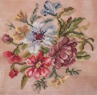 Vintage Needlepoint Canvas Mauve Blue & Lavender Flowers Preworked Dritz Luxury