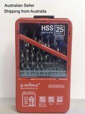 25PCS HSS High Speed Steel Metric Twist Drill Bit Set in Metal Case 1mm-13mm