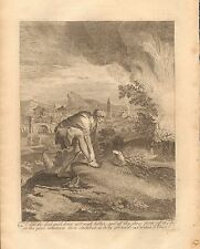 1770  ANTIQUE PRINT -BIBLE- AND THE LORD SAID DRAW NOT NIGH HITHER