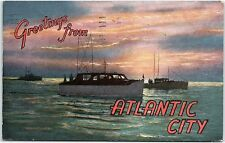 Postcard NJ Greetings From Atlantic City Deep Sea Fishing Boats R3