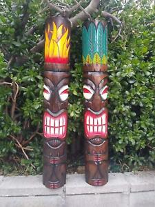 """Tiki Totem Masks Set of 2 Hand Carved Wooden Tropical Bar Patio Decor 39""""x 6""""in"""