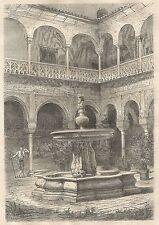 A4692 Siviglia - La casa di Pilate - Incisione - Stampa Antica del 1864