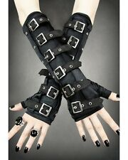 Restyle Black Buckle Arm Warmers Gothic Punk Fingerless Gloves