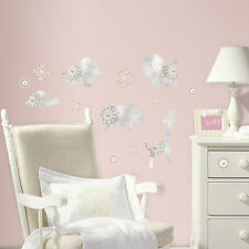 Baby Animals Wall Decals Nursery Stickers Gray Silver Decor Removable Reusable