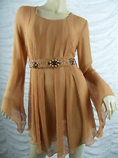NEXUS burnt orange sheer long sleeve dress size M GUC