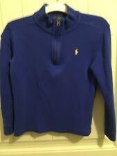 Ralph Lauren Polo French Ribbed Knit 1/4 Zip Pullover •ROYAL BLUE• Sz 7