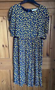 Jojo Maman Bebe Maternity Nursing Feeding Dress Size 12 Navy & Yellow Worn Once