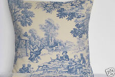 "16"" NEW CUSHION COVER DESIGNER STOF FESTIN TOILE DE JOUY FRENCH CHIC BLUE SHABBY"