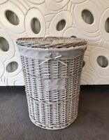 New Grey Round Laundry Rattan Wicker Baskets Bedroom Hallway Storage Shabby chic