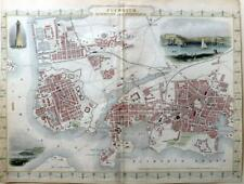 PLYMOUTH DEVONPORT TOWN PLAN  BY RAPKIN / TALLIS   GENUINE ANTIQUE MAP c1851