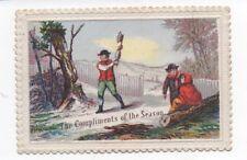 1890s Christmas Card of Man chopping down Tree