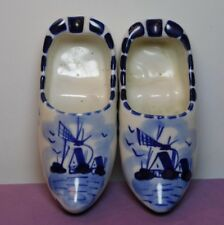 Two (2) Elesva Holland Dutch Blue Porcelain Ashtrays Shoes Clogs Windmills 3.75""