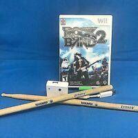 Wii Rock Band 2 Lot: Game CIB + Guitar Dongle Receiver + Bonus Drumsticks