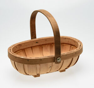 Small Wooden Slatted Trug / Garden Basket With Moveable Rivetted Handle
