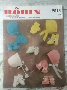 Vintage Knitting Pattern Robin 2018 Booties Mittens Baby 0-9 months