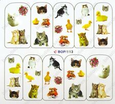 Nail Art Water Transfers Decals Stickers Cat Duck Flower Pattern BOP113