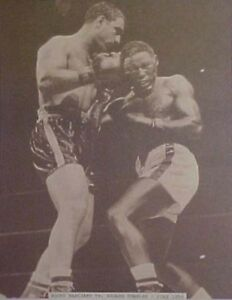 MARCIANO VS CHARLES  JUNE1954 BOXING 11 x 14 SEPIA PHOTOGRAPH