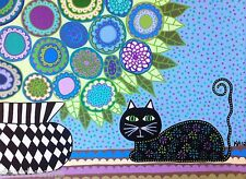 Ambrosino Mexican Folk Art Black Cat French Blue Flowers France Print 8 X 10