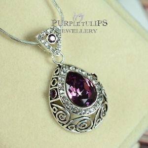 18K WhiteGold Plated VintageStylish Amethyst Necklace MadeWith Swarovski Crystal