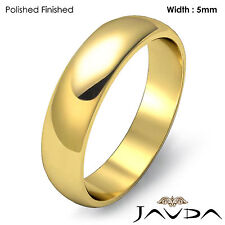 5mm Solid 14k Gold Yellow Dome High Polish Mens Wedding Band Classic Ring 5.4gm