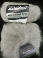 (23,80 €/100g): 25 g LG MOHAIRLANA, Fb.006 grau Langhaar-Flausch   #3386