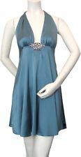 ingwa melero stretch charmeuse halter mini dress, rhinestone, teal, 100% silk  S