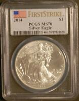 2014 $1 1 Ounce American Silver Eagle PCGS MS70 First Strike Several Milk Spots