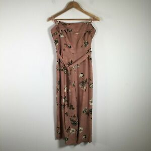 Dotti womens jumpsuit size 16 strapless nude pink floral belted sleeveless zip
