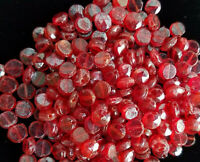 212 Handmade Czech glass BEADS CHERRY RED 1920s VINTAGE faceted disc nailhead