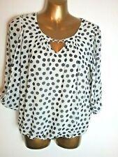 Billie & Blossom Dorothy Perkins 8 Cream Blue Spot 3/4 sleeves smart  Blouse