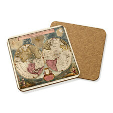 VINTAGE Old World Map #4 Drink Coaster tappetino in sughero quadrato Set X4-viaggio globo