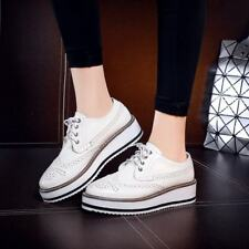 Shiny Womens Shoes Brogues Oxfords Platform Chic asual Creepers Wingtip Lace Up