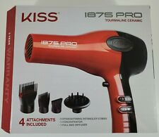 New - KISS RED TOURMALINE CERAMIC 1875 PRO BLOW HAIR DRYER WITH ATTACHMENTS