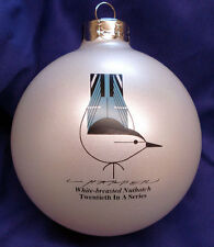 Charlie/ Charley Harper - Glass Christmas Ornament - WHITE-BREASTED NUTHATCH