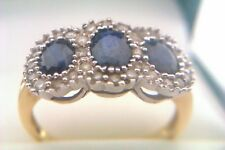 Beautiful 18ct Gold Sapphire & 0.25ct Diamond Ladies Triple Cluster Ring c1973